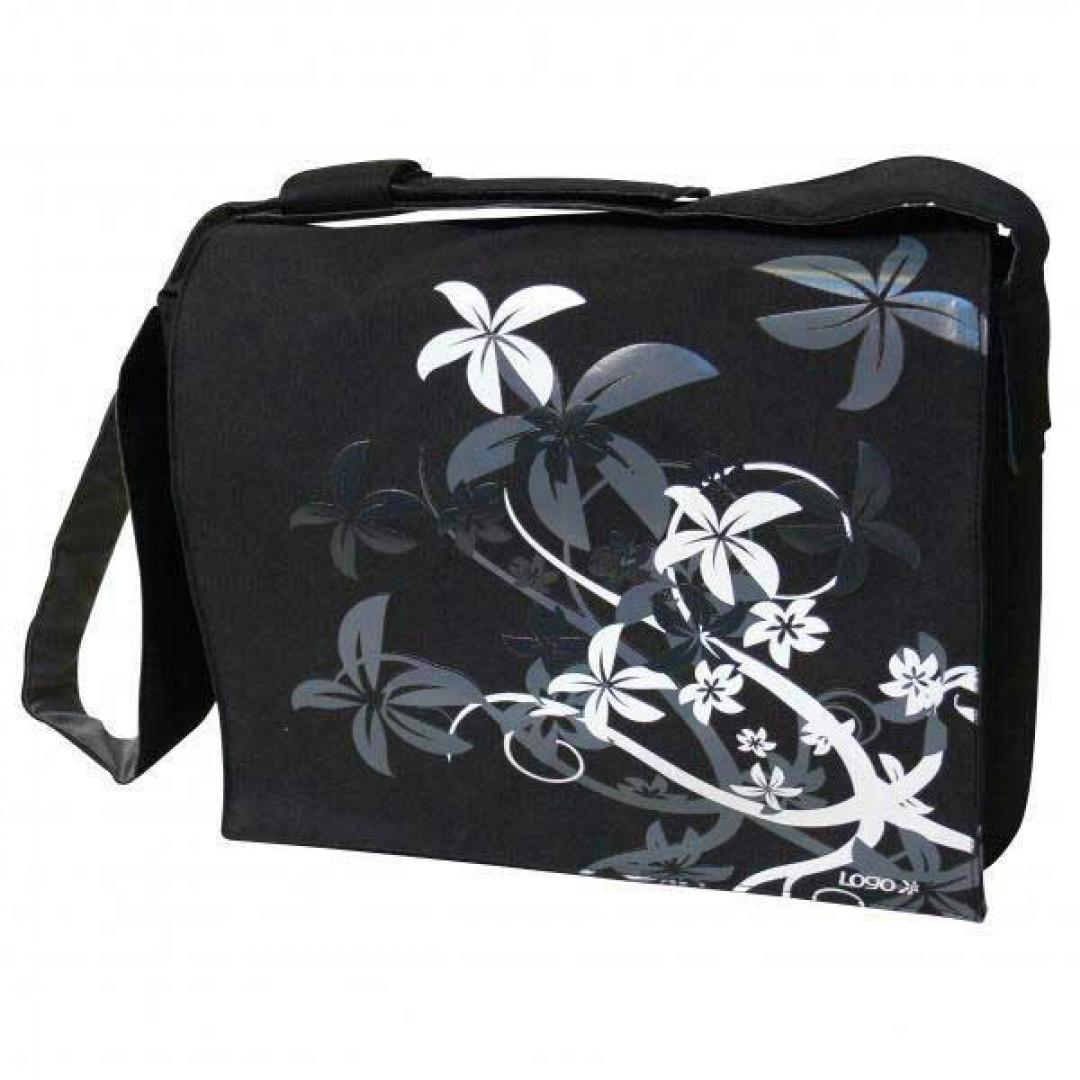 8cd0e187f5 TAŠKA NA NOTEBOOK MESSENGER FLOWER pre notebooky do veľkosti 15˝-16˝.  Štýlová taška typu messenger čiernej farby s bielo-šedým motívom kvetín.